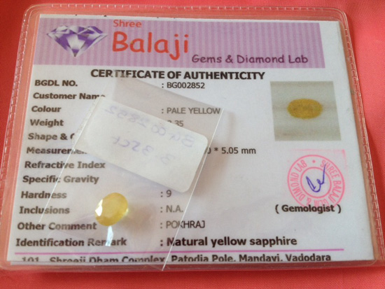 Certified gemstone in USA